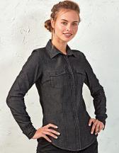 Ladies` Jeans Stitch Denim Shirt
