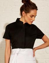 Women`s Tailored Fit Bar Shirt Mandarin Collar Short Sleeve